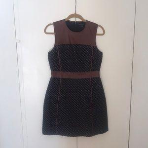 Theory Dress. Navy tweed & tan leather